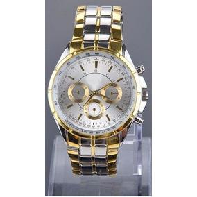 Relógio Quartz Aço Inox Pulseira Dourada E Prata