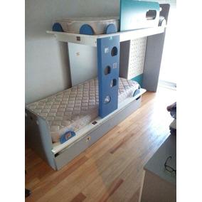 Juego Dormitorio Niños - 3 Camas + Escritorio + Colchones