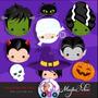 Kit Imprimible Halloween Pack Clipart Brujas Vampiros Png