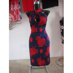 Vestido Mex De Flores Con Cuello Corto