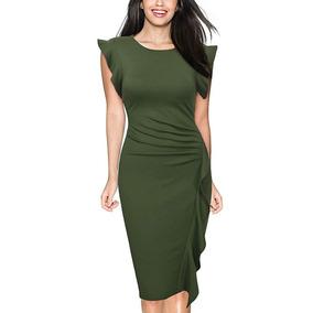 Miusol Vestido Para Negocios Retro Sleeve Slim L Verde
