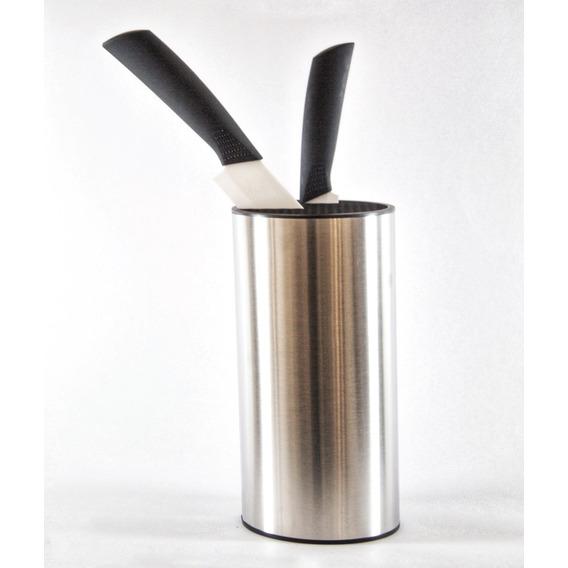 Porta Cuchillo Plateado Metal Y Plastico Negro - Liquidacion