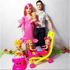 Boneca Real Gravida Família Feliz (mãe, Pai, Bb E Trigêmeas)