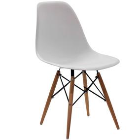 Cadeira Charles Eames Eiffel Polipropileno Base Madeira