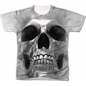 Camisa Camiseta 3d Caveira Skull Cranio Prateado 10