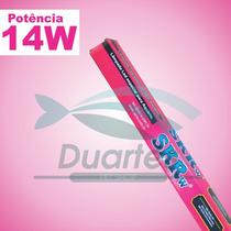 2 Lâmpadas De Led Tubular T-8 14w Rosa + Azul 90cm + Brinde