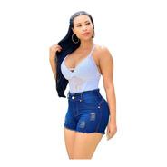 Short Jeans Com Elastano Cintura Alta Sh003 By Bellatotti