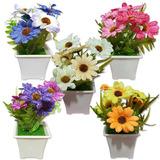 10 Vaso Planta Decorativo C/ Arranjo De Flores Artificiais