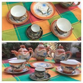 Juego De Té Porcelana China Antigua Dragón Pintado A Mano