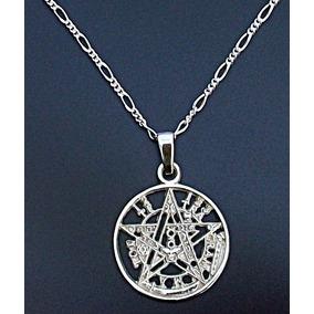 Cadena Y Dije De Tetragramaton Pentagrama En Plata .925 24mm