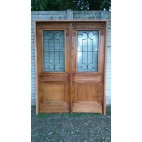 Puerta doble hoja aberturas puertas de abrir en mercado for Puertas antiguas dobles