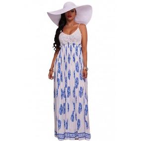 Maxi Vestido Fiesta Blanco Encaje Estampado Azul Ropa Dama