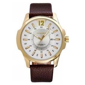 Relógio Masculino Curren Luxo Dourado Pulseira Em Couro