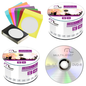 150 Dvd-r Virgem Multilaser+150 Envelopes De Papel C/visor
