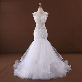 Vestido De Noivas 23332 Luxoso Elegante Tulle Sereia Renda