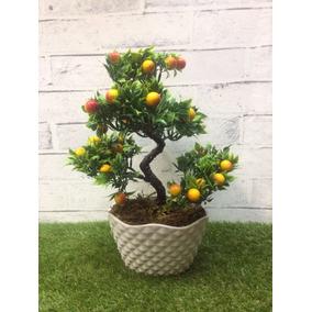 Bonsai Realista Artificial - Mini Frutas - Vaso Acrílico 006
