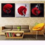 Quadro Bailarina Trio Tela 40x40 Rosas Quarto Escada Cozinha
