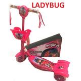 Patinete Musical Miraculous Ladybug 3 Rodas C\ Luzes E Cesta
