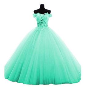 Vestido Debutante Festa Baile 15 Anos Azul Tiffany Barato