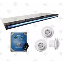 Kit 3 Super Led Piscina De Vinil E Fibra + Cascata Led 180cm