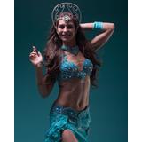 Traje Bellydance Danzas Árabes Turquesa Corpiño Egipcio
