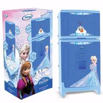 Mini Geladeira De Brinquedo P Criança Com Som Frozen Xalingo