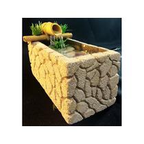 Fonte Água Bambu Concreto Celular Decoração Pedra Relaxante