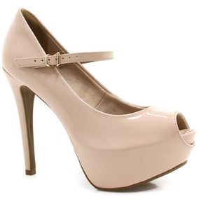Sapato Peep Toe Bebecê Verniz - Preto E Nude