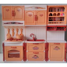 Kit Cozinha Infantil Meninas Luz Som Princesas 3x1 Bonecas M