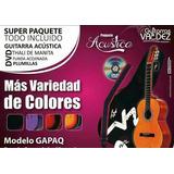 Paquete De Guitarra Acústica Con Funda, Plumillas, Dvd