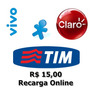 Recarga Celular Crédito Online Tim Claro Vivo R$ 15,00 #j3r