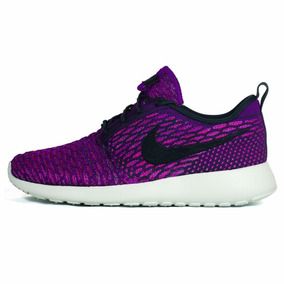 Tennis Nike Roshe Flyknit Dark 704927-302 Morado Para Mujer