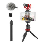 Microfone Boya By-vg330 Com Tripé E Suporte Para Celular