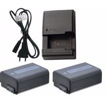 Kit Duas Baterias Np-fw50 + Um Carregador P/ Sony A33 A37