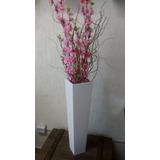 Arranjo Vaso Alto Flor Pessegueiro Artificial Rosa Lindo