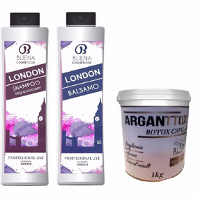 Escova London 2x1 Litro + Botox Capilar 1 Kg Cabelos Lisos