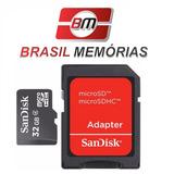 Micro Sd 32gb + Adaptador Mini Cartão Memória Celular