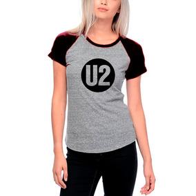 U2 - Camiseta Baby Look Raglan Banda Rock Pop Bono Vox Rf1