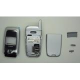 Carcaça Completa Celular Nokia 6101 Flip Prata / Preto