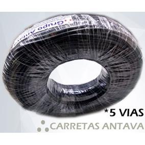 Kit 20mt Cabo Fio Pp 05 Vias 0,75mm P/ Reboques Carretinha