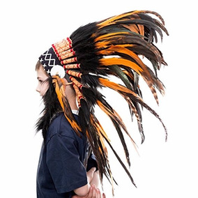 Penacho Indigena Apache Indio Para Niños 68 Naranja