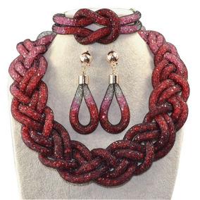 Set Collar Aretes Pulsera Gradiente Rojo Brillante Elegante