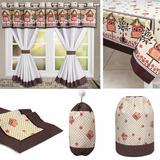 Cortina Cozinha+capa Botijão+toalha+caminho+puxa Saco Coruja