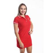 Vestido Gola Polo Adulto Vermelho Paixão