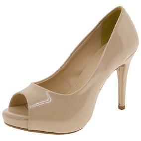 Peep Toe Feminino Salto Alto Pele Mixage - 2938338