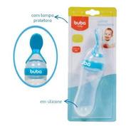 Colher Dosadora  Alimentadora Buba Baby  Silicone Azul Bebe.