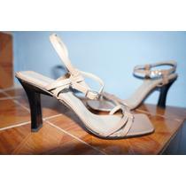 Sandalias De Piel De Cabra Color Beige Talla 25
