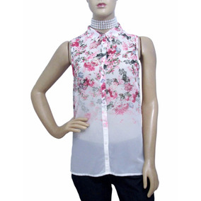 Camisa De Musseline Estampa Floral - Usada - Ótimo Estado