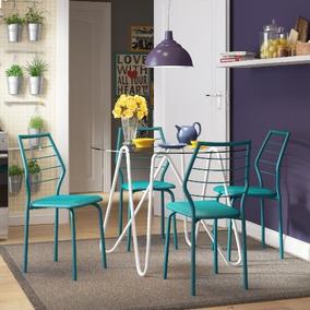Conjunto De Mesa Carraro 1535 + 4 Cadeiras 1716 - Branco / T