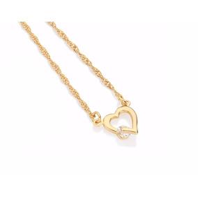 Gargantilha Coração Vazado - Folheado Ouro Rommanel 531182